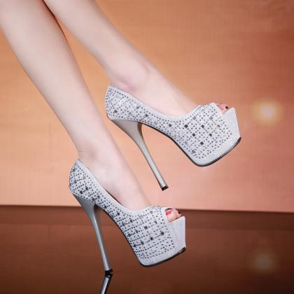 Crystal Peep Toe High Platform Stil..