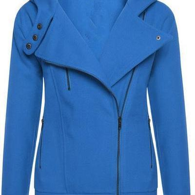 Solid Color Zipper Buttons Hooded C..