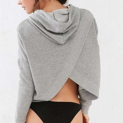 Grey Drawstring Hood Long Cuffed Sl..