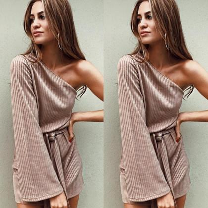One Shoulder Long Trumpet Sleeve Lo..