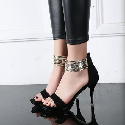 Pure Color PU Stiletto Heel Zipper ..