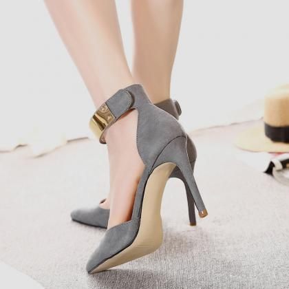 Suede Pure Color Stiletto Heel Pion..