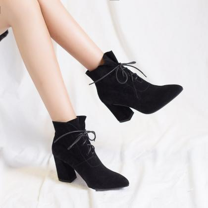 PU Pure Color Chunky Heel Pionted T..