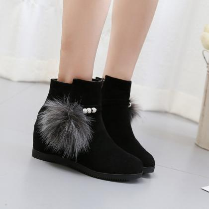 Suede Pure Color Slope Heel Round T..
