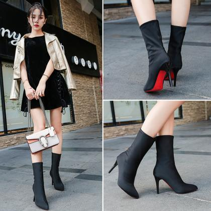 Black Pointed-Toe Mid-Calf High Hee..