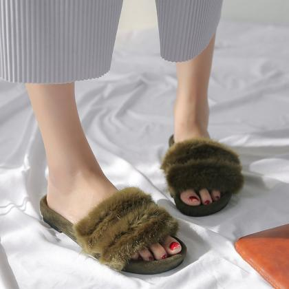 Fur Slides in Green, Black or Brown