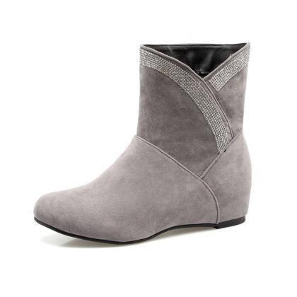 Suede Slope Heel Round Toe Pure Col..