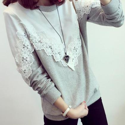 Patchwork Lace Long Sleeves Scoop L..