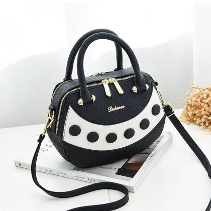 Graceful Color Block Zipper PU Satc..