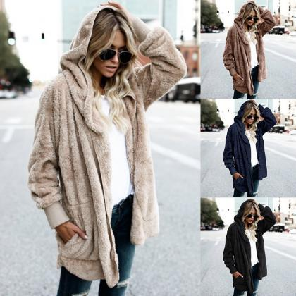 Loose Faux Fur Warm Short Hoody Coa..