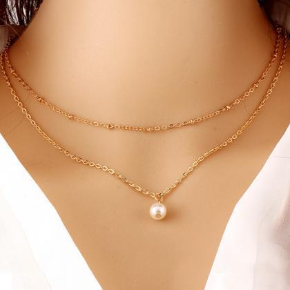 Fashion Multilayer Metal Pearl Neck..
