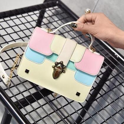 Lovely Color Block Chain Crossbody ..
