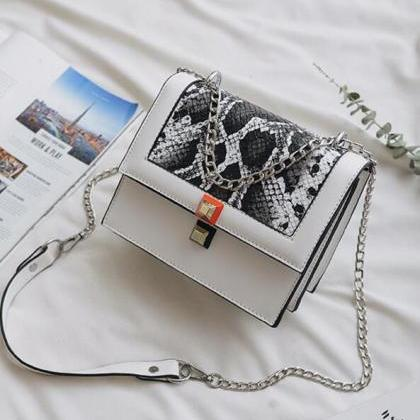 Serpentine Pattern PU Cross Body Ba..
