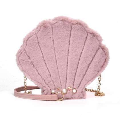 Pearly Shell Design Plush Crossbody..