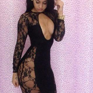 Lace Long Sleeves Bodycon Hollow Ou..