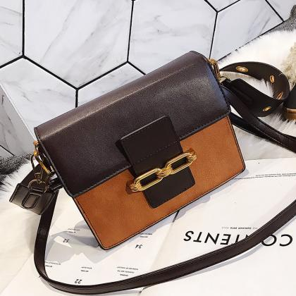 Fashion Color Block PU Crossbody Ba..
