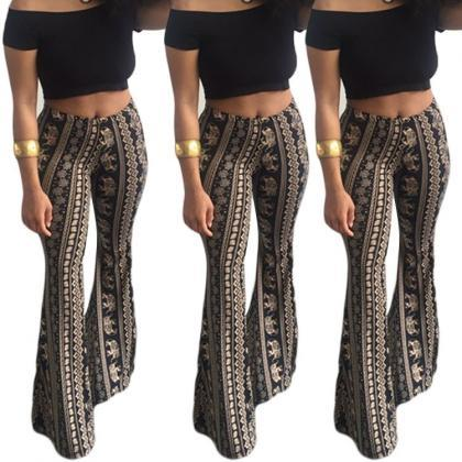 Bohemian Print Middle Waist Long Be..