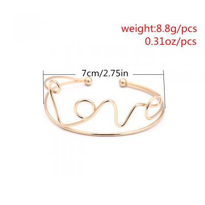 Fashion Peach Heart LOVE Open Brace..