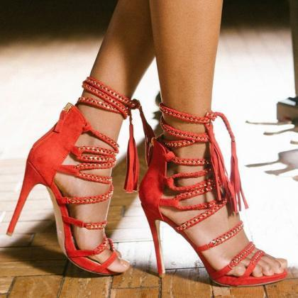 Chain Straps Open Toe High Stiletto..