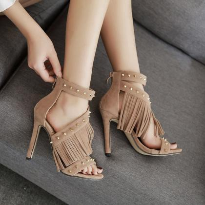 Tassels Rivets Stiletto Heel Open-t..