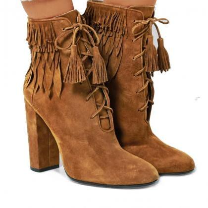Tassels Pointed Toe High Chunky Hee..