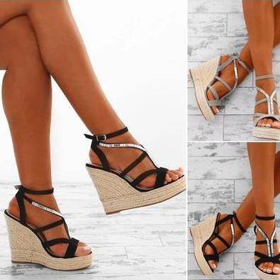 Women Wedge Sandals Simple Style St..