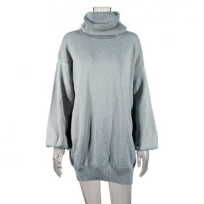 Turtleneck Long Lantern Sleeves Loo..