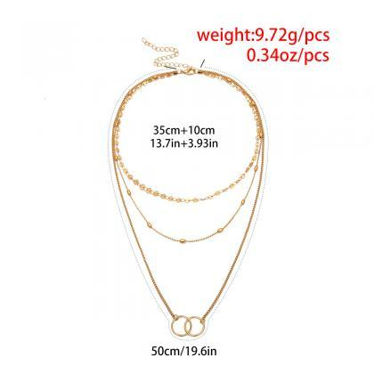 Sequined Circle Brass Bead Clavicle..