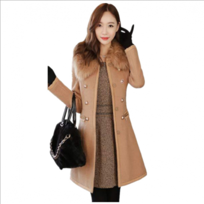 Faux Fur Collar Double Breast Women..