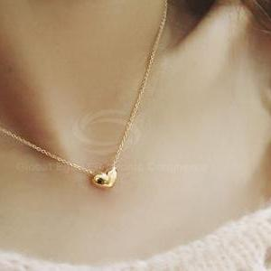 Sweet Heart Pendant Golden Necklace