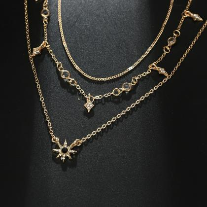 Multilayered Golden Clavicle Chain ..
