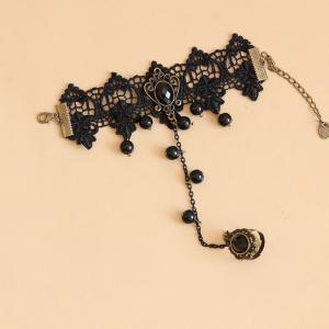 Chic Beaded Pendant Lace Charm Brac..
