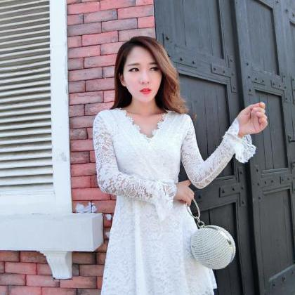 Sexy Deep V Neck Long Sleeve Lace P..