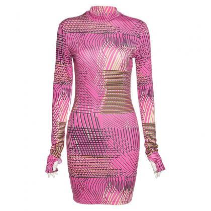 Sexy Long Sleeve Bodycon Print Dres..