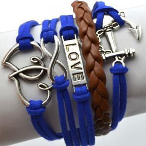Anchor Double Hearts Love Charm Sil..