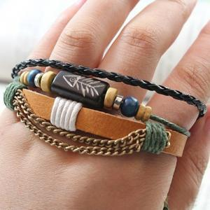 Unisex Fashion Wrap Multilayer Leat..
