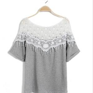 Lace Crochet Cape Batwing Sleeve T-..