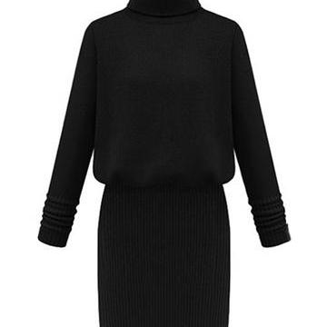 Knitted Turtleneck Long Sleeves Sho..
