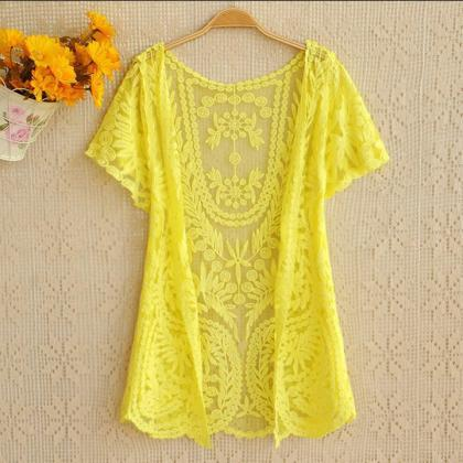 Women's Hollow-Out Shirt Lace Embro..