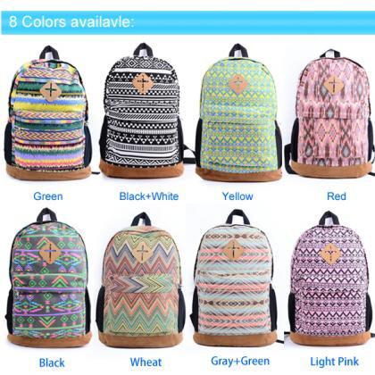 Ladies Floral Canvas Backpack Schoo..
