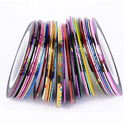 38Pcs Mixed Colors Rolls Striping T..