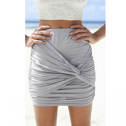 Wrap Draped Slim Mini Skirt