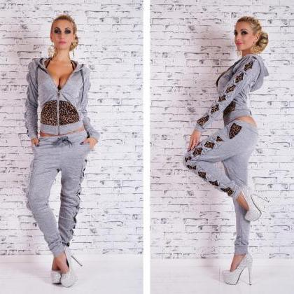 Leopard Patchwork Twinset Hoodies S..