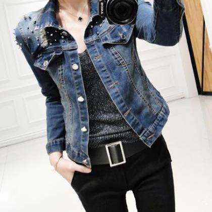 Women's Distressed Studded Denim Ja..