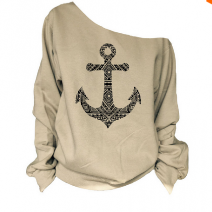 Anchor Print Skew Neck Sweatshirt T..
