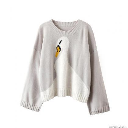 Sweet Women s Round Neck Swan Jacqu..
