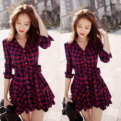 Stylish Long Sleeves Lapel Plaid Sh..