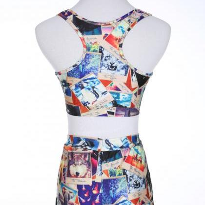 New Trend Print Crop Top with Short..