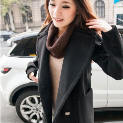Double Breasted Lapel Solid Long Th..