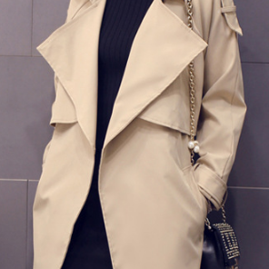 Solid Lapel Pockets Slim Long Coat